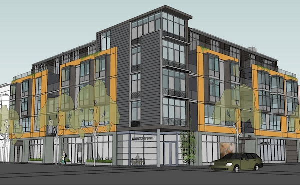 Rendering of new building at 20th and Valencia. Courtesy of valencia20.com
