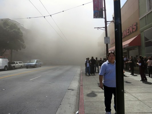 The smoke eased off for a bit and then picked up. Photo by Leslie Nguyen-Okwu.