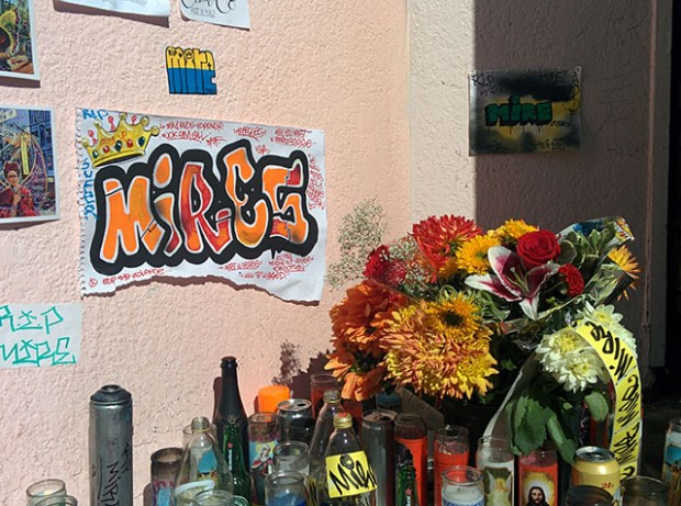 An altar for Ronnie Goodman at 24th and Capp. Photo by Laura Wenus.