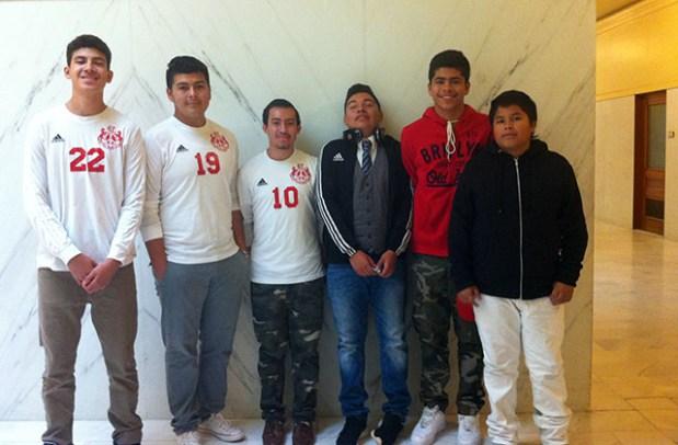 From left to right Stanly Tijerina, Héctor Gómez, Juan Gálvez, HUgo Vargas, Gregory García and Nathan García.  Photo by Andrea Valencia.