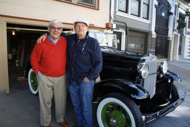 Barry Kinney (left) and Ralph Hoffshildt in front of a recently purchased Model A Ford. Photo by Daniel Hirsch.