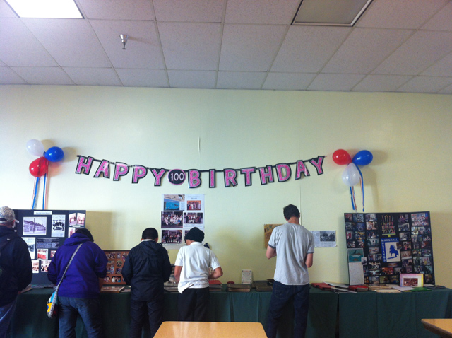 A Happy Birthday sign celebrating the school's 100th anniversary. Photo by Andrea Valencia