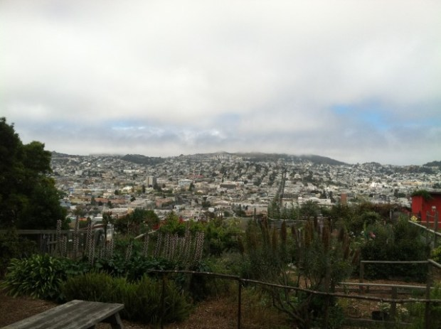 The view of the Mission from the community garden at the top of Potrero Hill. Photo by Joe Rivano Barros.