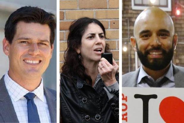 From left to right: Joshua Arce, Hillary Ronen, and Edwin Lindo.
