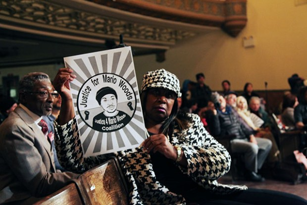 Activists of the Justice for Mario Woods Coalition expressed their frustrations with the police department's voluntary review of by the federal Justice Department during a public meeting on March 8.  Photo by Laura Waxmann
