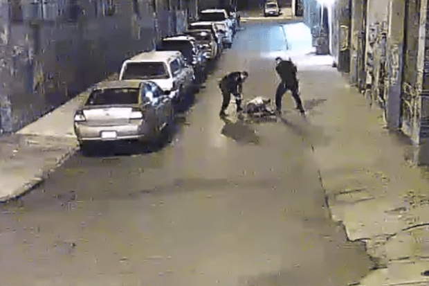 Still from the footage captured of Stanislav Petrov being beaten by Alameda County Sheriff's  deputies in November 2015.