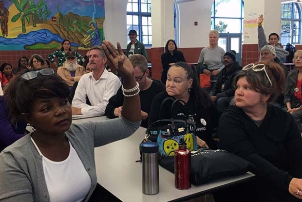 Community members gathered at Mission High School to weigh in on the appointment of the city's next police chief. Photo by Laura Waxmann