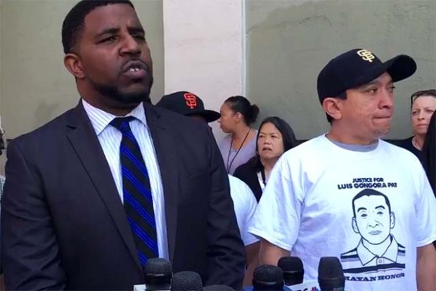 The family of Luis Gonogra Pat, shot by SFPD officers in April, has filed a federal civil rights lawsuit against the city, announced their attorney, Adante Pointer (left). Photo by Laura Waxmann