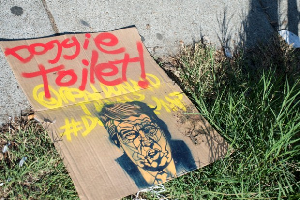 Donald Trump signs left on the corner of 22nd and Harrison streets. Photo by Lola M. Chavez