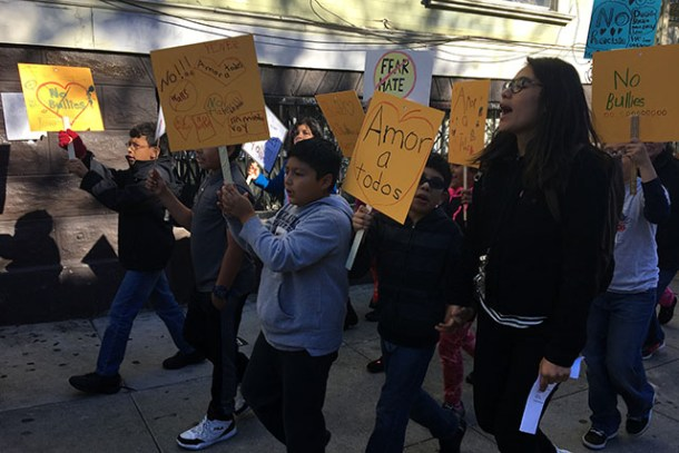 Students and teachers walked out of Buena Vista Horace Mann School and Fairmount Elementary School Wednesday morning and marched through the Mission. Photo by Laura Wenus