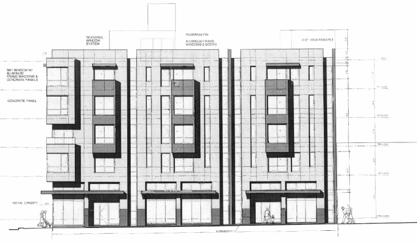 The renderings for the 28-unit project at 198 Valencia St. as seen from Valencia Street.