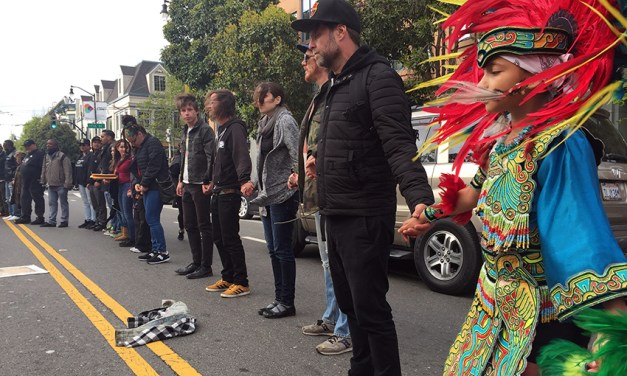 Protesters block off Valencia in front of SF Mission police station