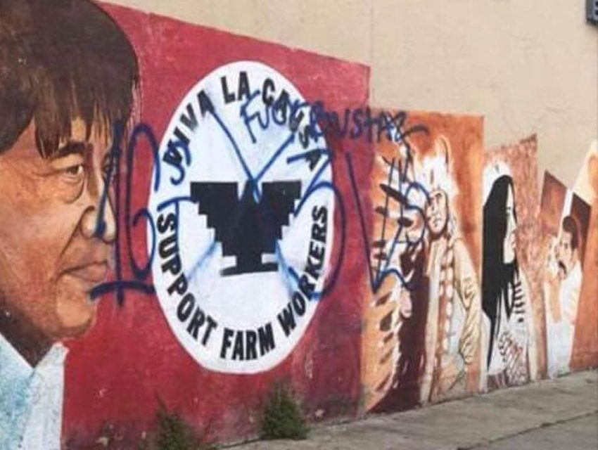 Vandalized Cesar Chavez mural to lose United Farm Worker symbol appropriated by gang