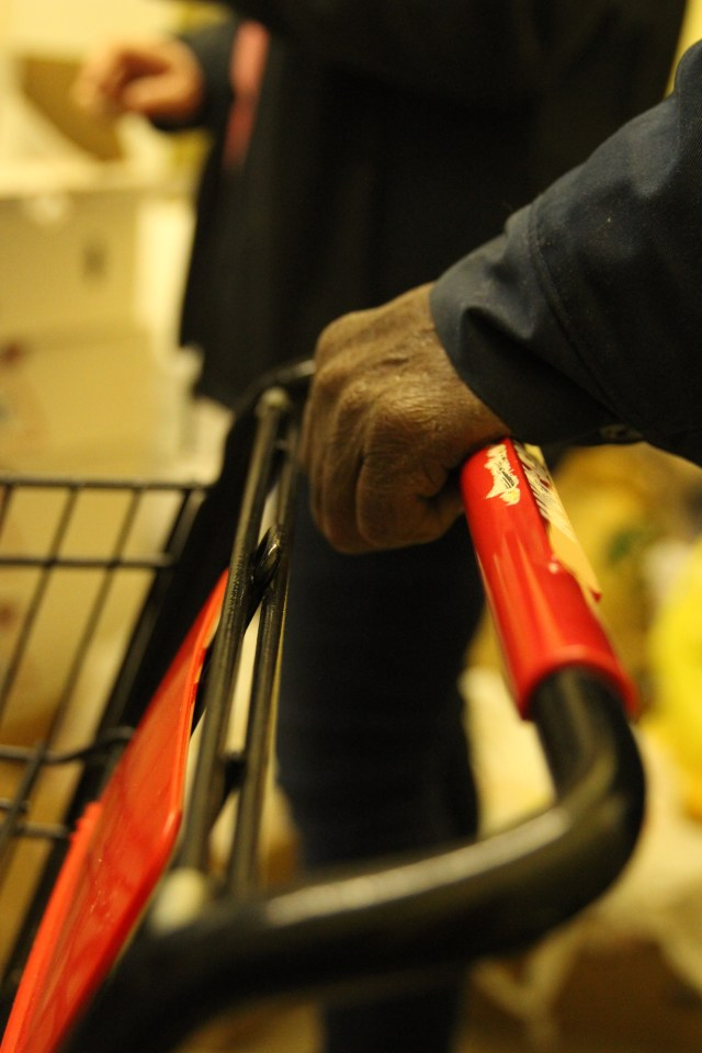 Mission Marshall Food Pantry Hand on Cart