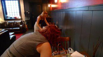 Kari and Meredith setting up for the mixer.