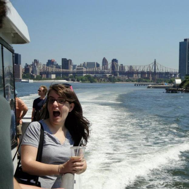 Rachel Dart on the East River Ferry (Queensboro bridge in the background)