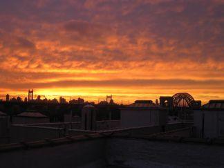 Sunset over Astoria from Dina Comolli's rooftop