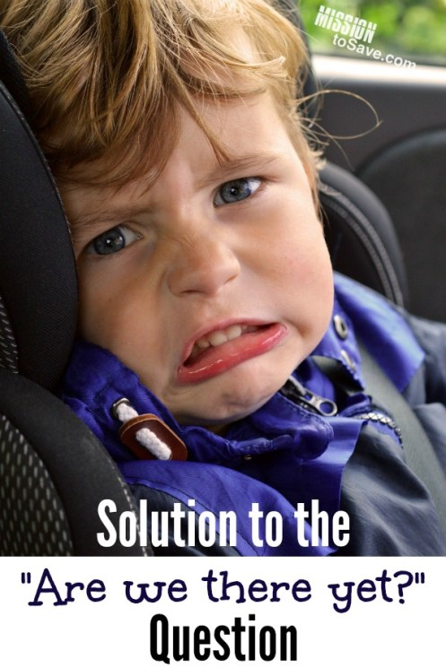 child fussing in car seat and text solution to the are we thee yet question