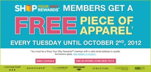 Sears Outlet Free Apparel Tuesday