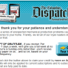 Columbus Dispatch Apologizes for Late Delivery with Credit- Watch for Email to Claim It!