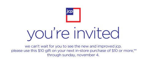JCP $10 off $10 Email Coupon