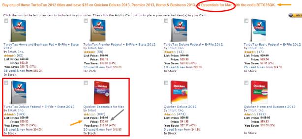 Buy TurboTax 2012  Save on Quicken 2013