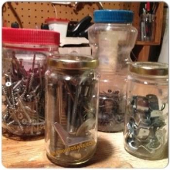Use repurposed jars for shop organization.