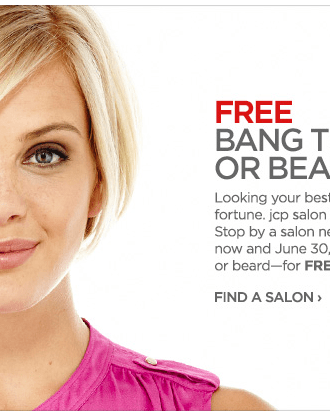 jc penney free bang or beard trim