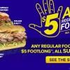 Subway $5 Footlong Subs All September