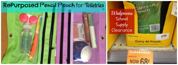 Repurposed Pencil Pouch for Toiletries from Clearance Find