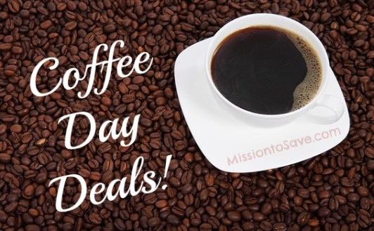 Snag a deal on a Cup o joe. Check out these Coffee Day Deals! See them on MissiontoSave.com