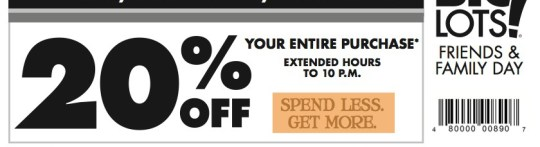 Big Lots 20% Off Weekend Oct 5 and 6 2013.  See details on MissiontoSave.com