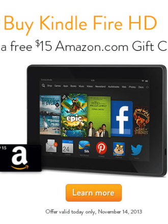 kindle Fire HD gift card offer