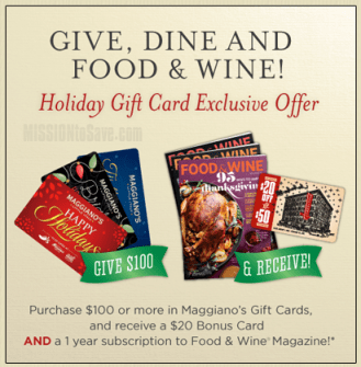 Maggianos Gift Card Offer and Magazine Rebate