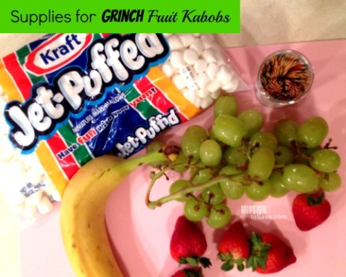 See how to make super cute Grinch Fruit Kabobs! Being joy to your holiday party! from missiontosave.com