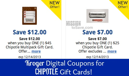 kroger digital coupons for Chipotle gift cards
