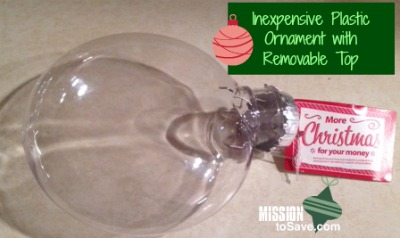 round plastic ornament with removable top