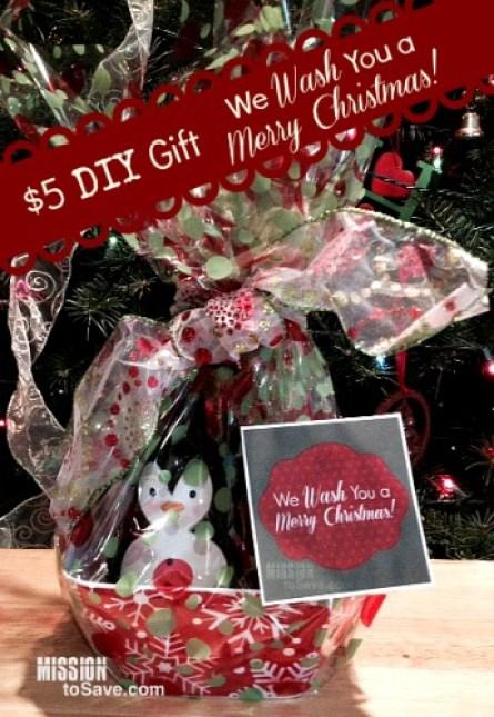 We Wash You a Merry Christmas DIY gift with printable tag