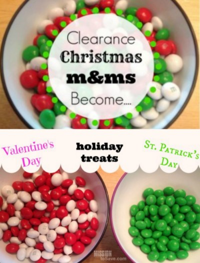 Christmas Clearance Candy is perfect for saving on future celebrations. Split the colors and you have goodies for Valentine's Day and St. Patty's Day too!
