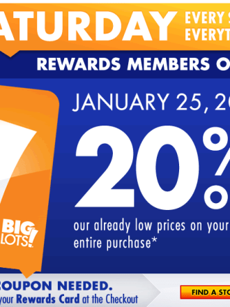 Big Lots 20% Off on Saturday for Buzz Club Members.