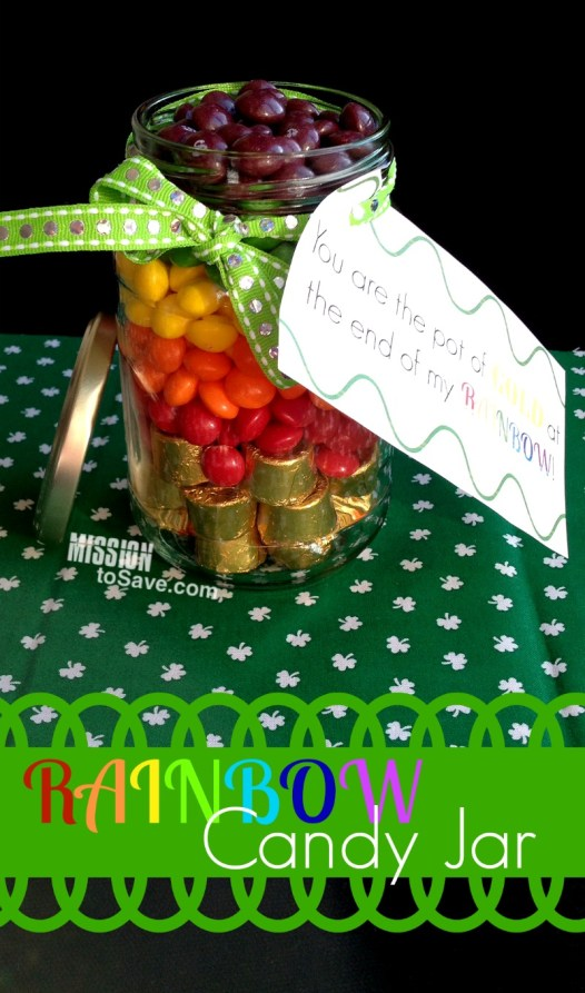 jar with rainbow and gold candy to look like pot of gold with printable gift tag