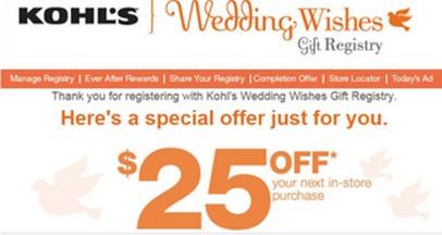 free $25 off $25 Kohls