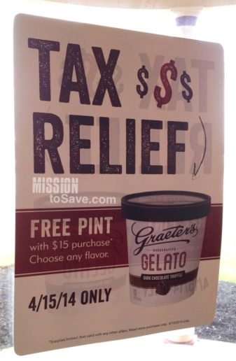 graeters tax day deal- free pint with purchase on 4/15