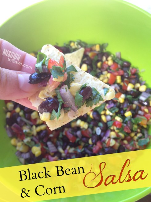 Black bean and corn salsa recipe is the perfect snack dip for summer cookouts or watching the big game.