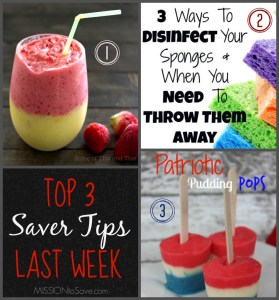 Top 3 Saver Tips from last week's linky.  Link up today and you may be top 3 next!