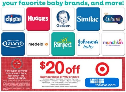 HOT Target Baby Item Coupon this week: $20 off $100 purchase.