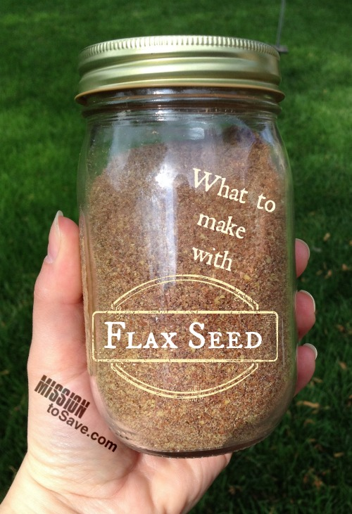 ground flax seed in a jar