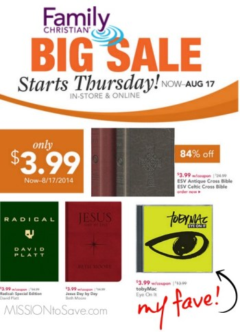 Family Christian Stores Sale!  Popular items just $3.99.  Think CHRISTmas!