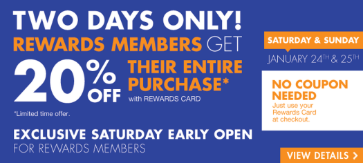 Big Lots 20% Off Sale Weekend is back for Big Lots Buzz Club Rewards members only.  No Coupon needed, just scan your card (1/24-1/25)