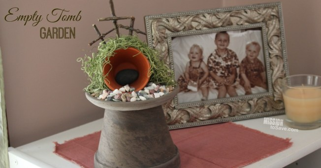 Finished Empty Tomb Garden used as home decor for Easter with family picture